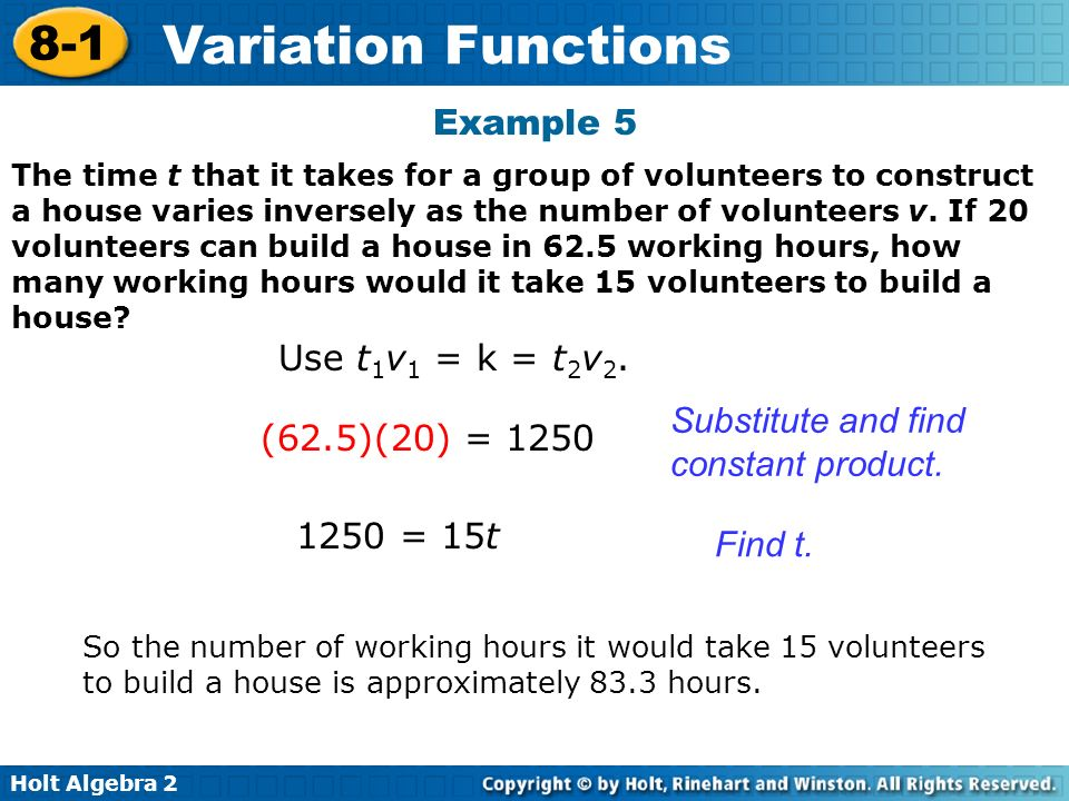 Substitute and find constant product. (62.5)(20) = 1250