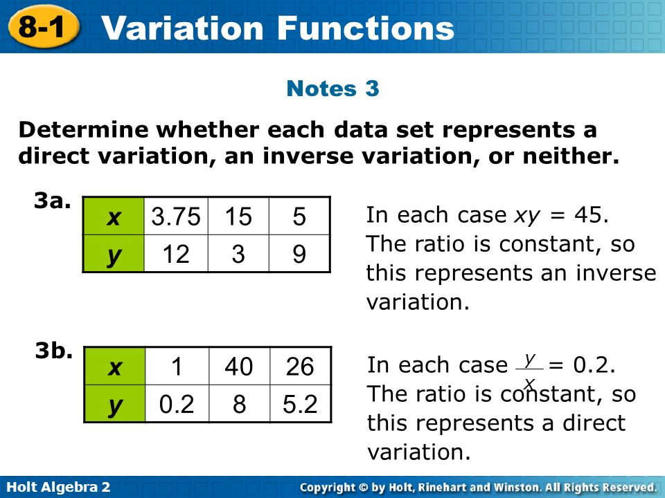 Notes 3 Determine whether each data set represents a direct variation, an inverse variation, or neither.