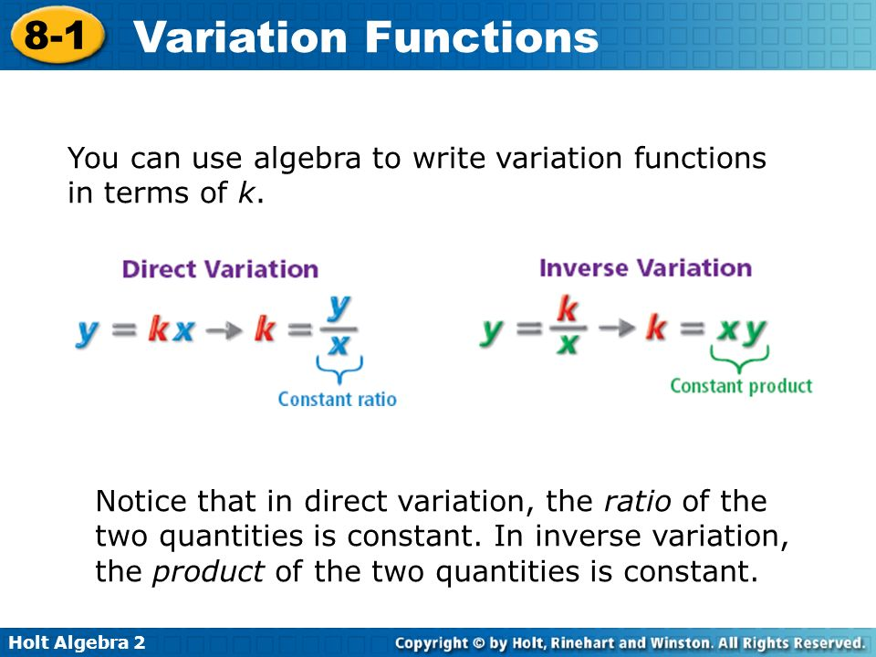 You can use algebra to write variation functions in terms of k.