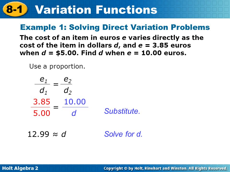 Example 1: Solving Direct Variation Problems