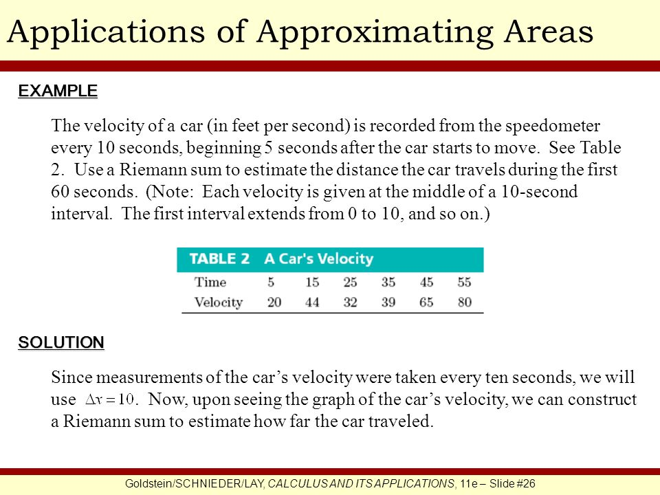 Applications of Approximating Areas