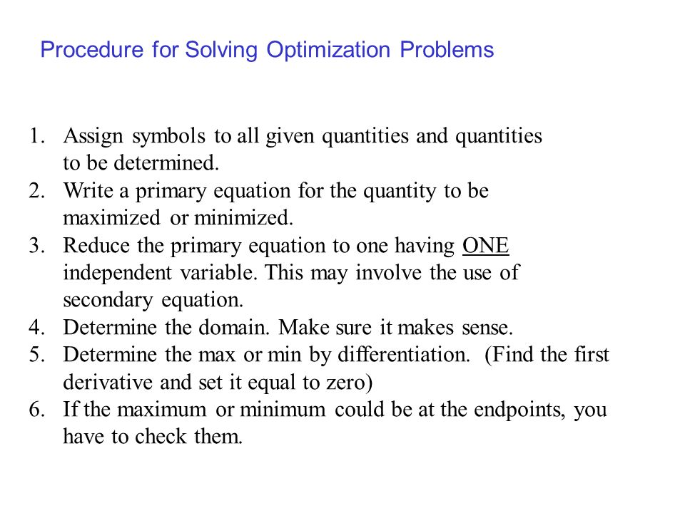 Procedure for Solving Optimization Problems