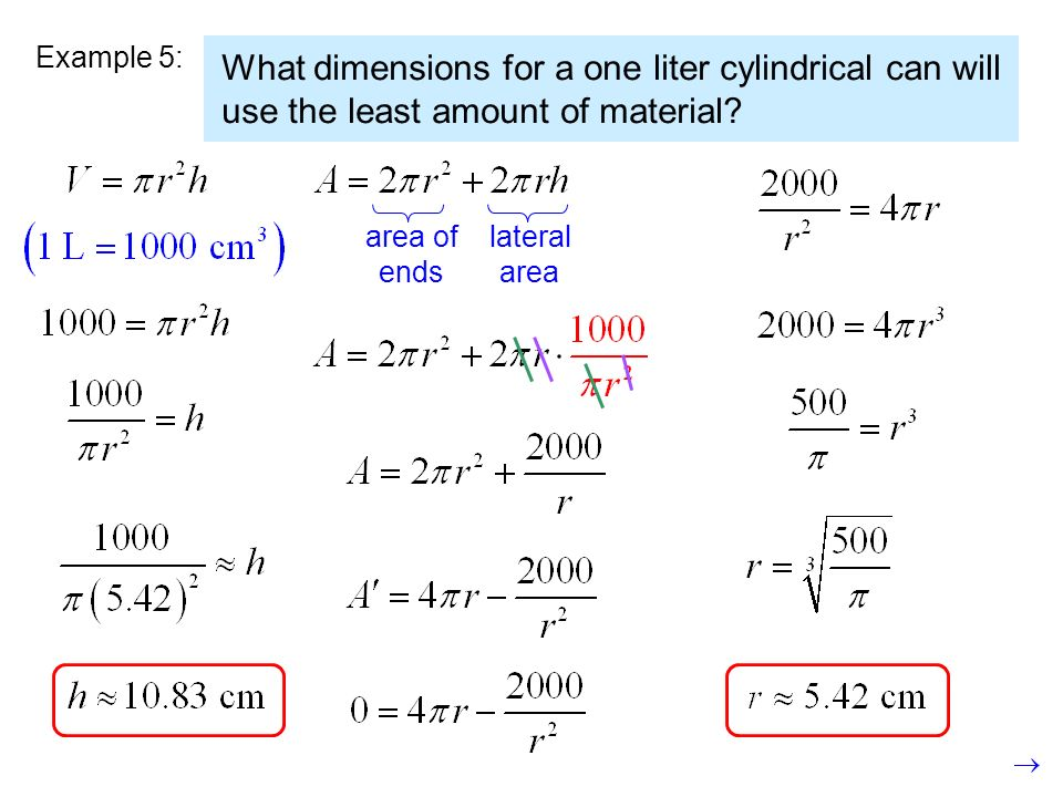 Example 5: What dimensions for a one liter cylindrical can will use the least amount of material area of.