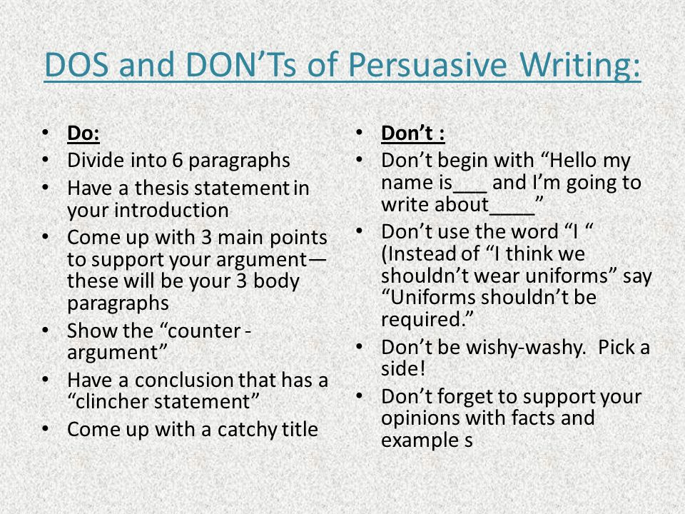 DOS and DON'Ts of Persuasive Writing: