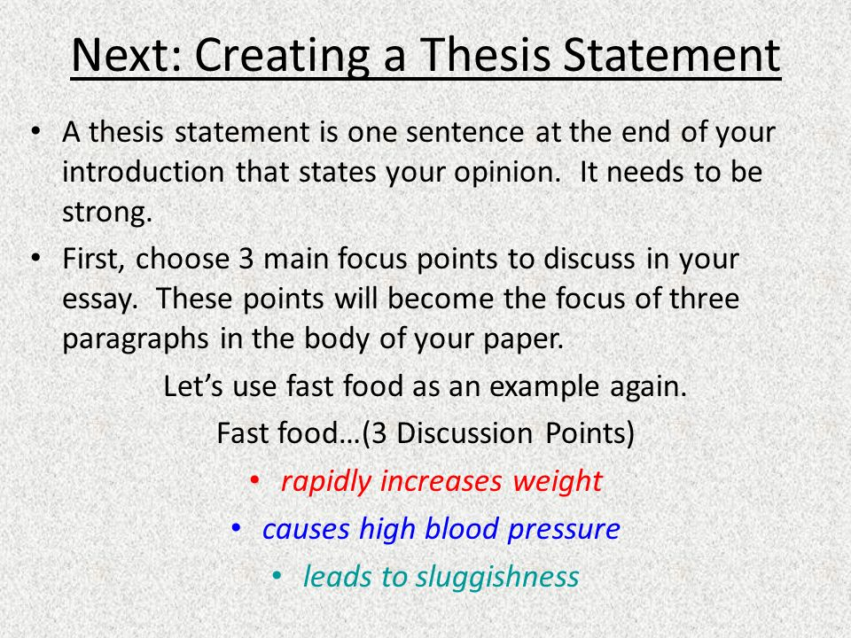 Next: Creating a Thesis Statement