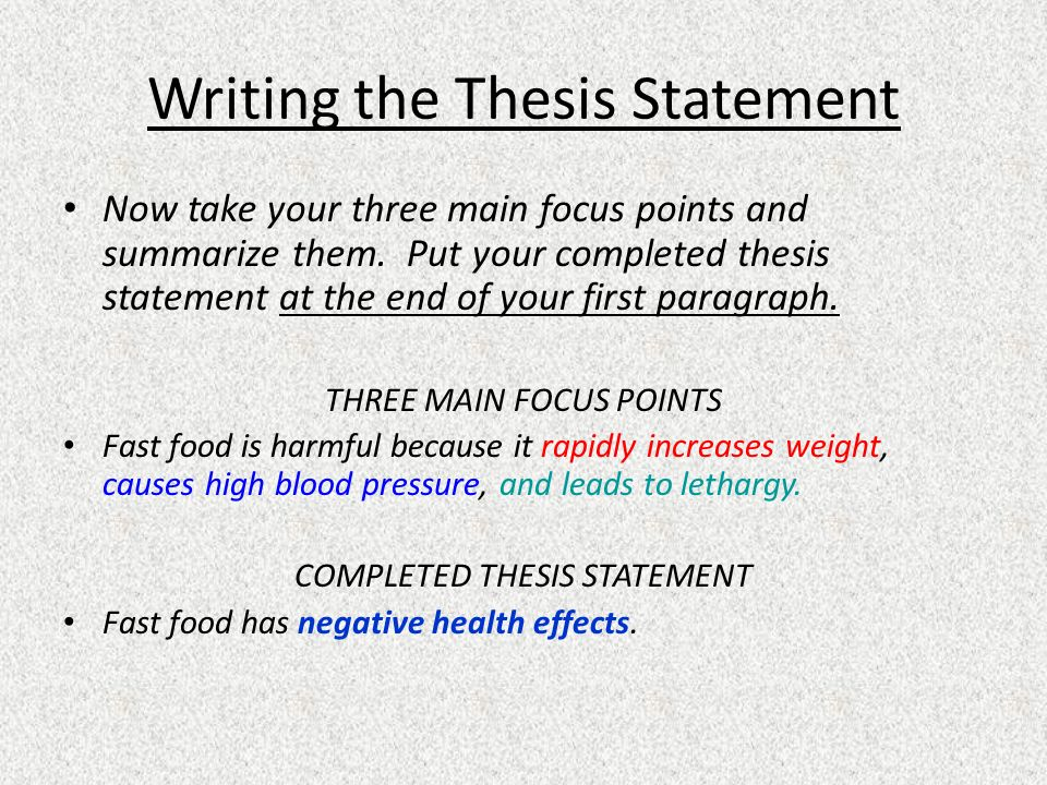 Thesis statement about healthy food