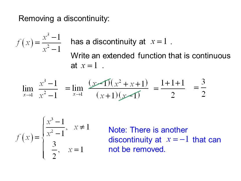 Removing a discontinuity: