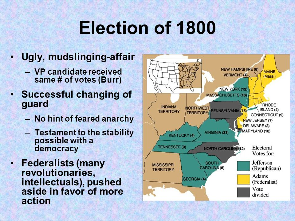 Election of 1800 Ugly, mudslinging-affair Successful changing of guard