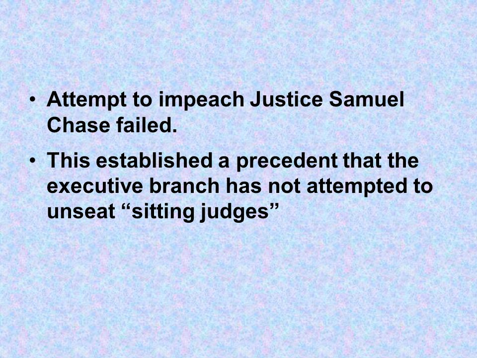 Attempt to impeach Justice Samuel Chase failed.