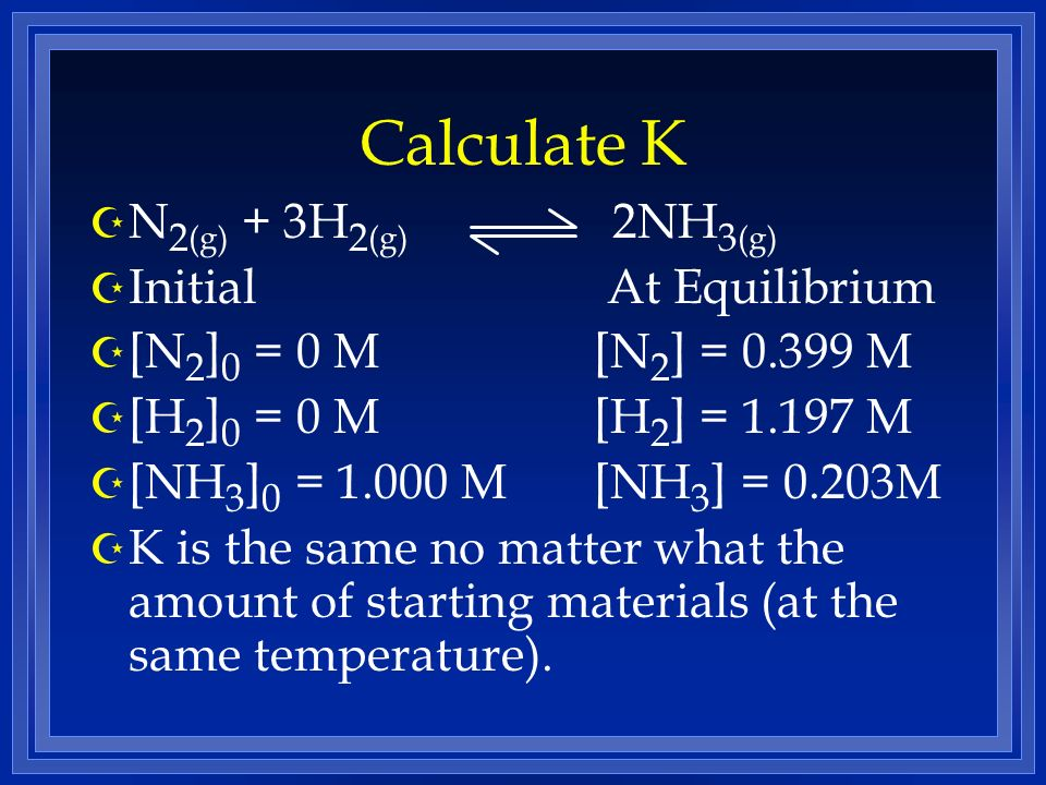 Calculate K N2(g) + 3H2(g) 2NH3(g) Initial At Equilibrium