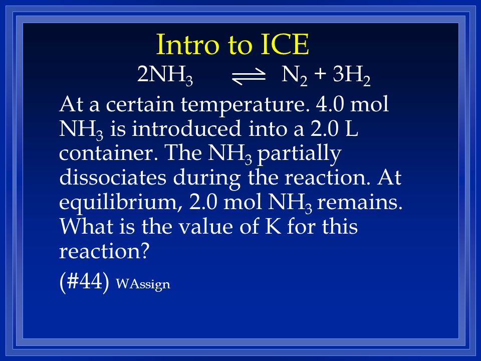 Intro to ICE 2NH3 N2 + 3H2.
