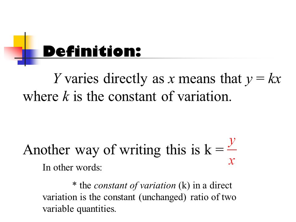 Another way of writing this is k =