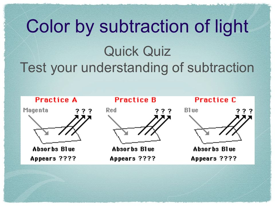 Color by subtraction of light