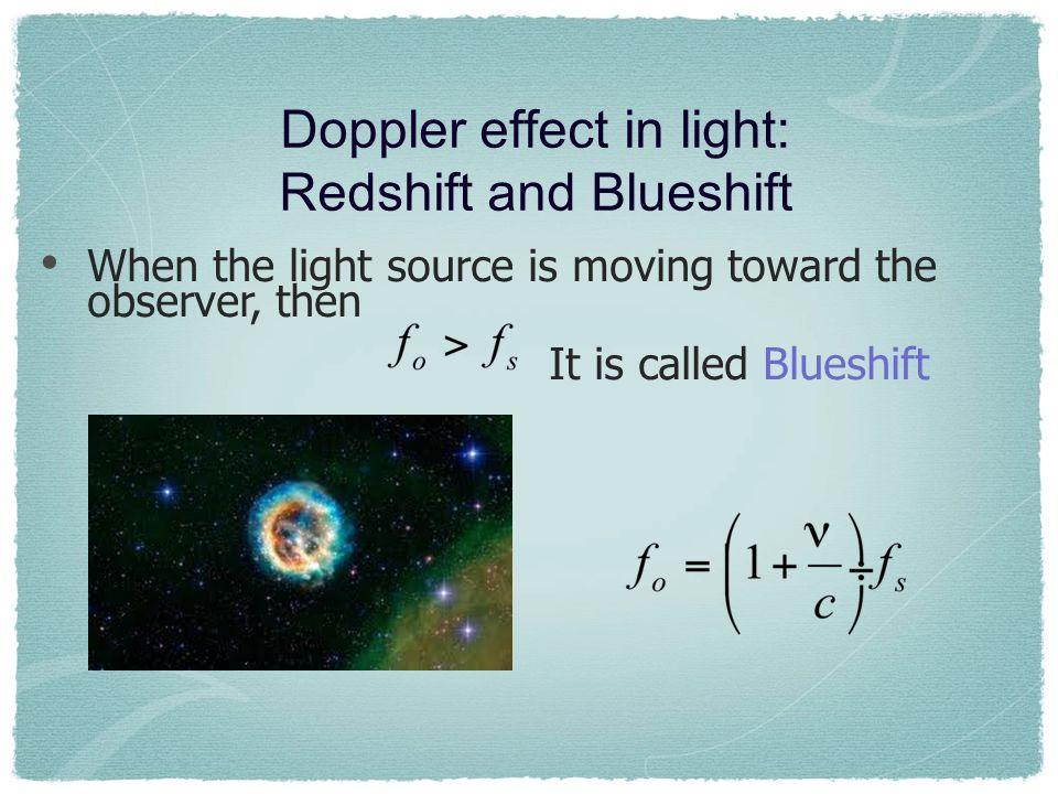 Doppler effect in light: Redshift and Blueshift