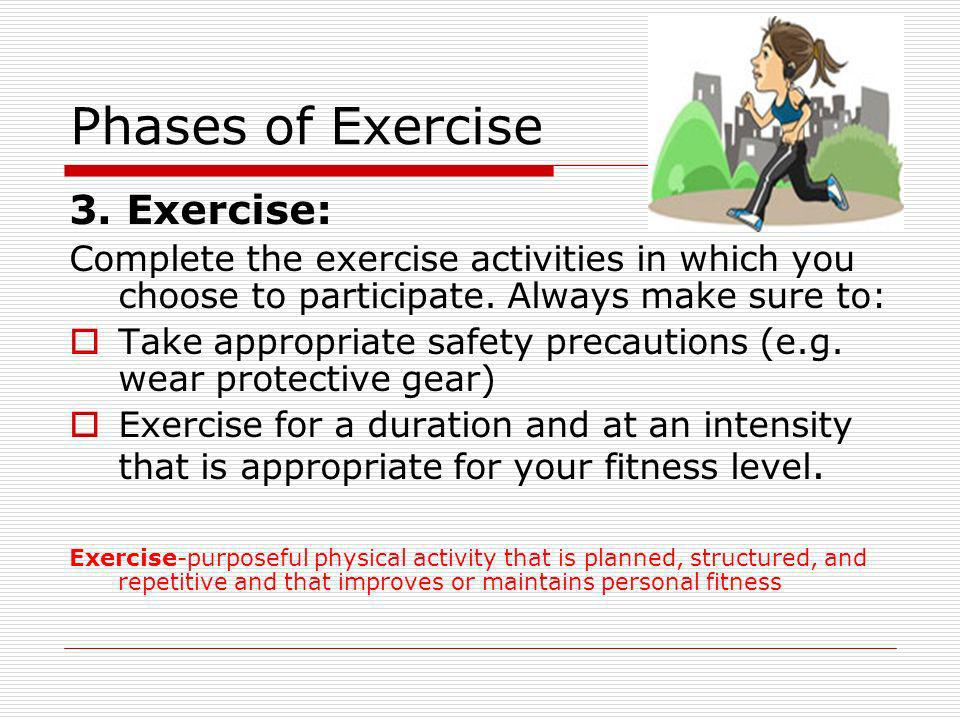 Phases of Exercise 3. Exercise: