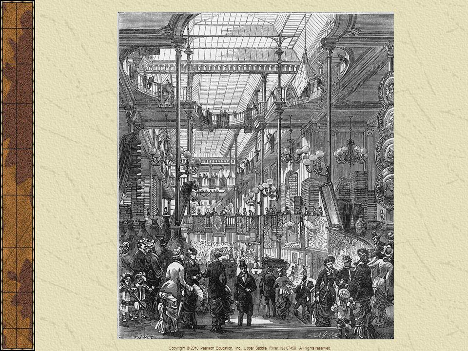 Department stores, such as Bon Marche in Paris, sold wide selections of consumer goods under one roof. These modern stores increased the economic pressure on small traditional merchants who specialized in selling only one kind of good. (See Paris Department Stores Expand their Business, page 766.)