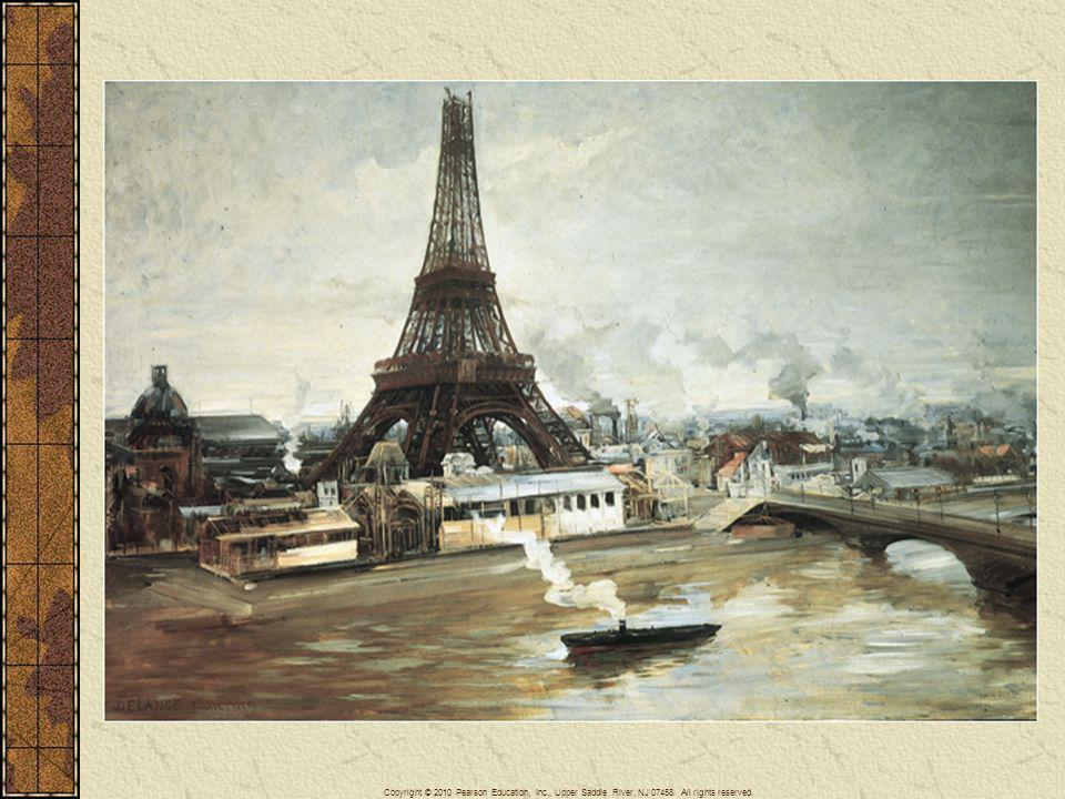 The Eiffel Tower, shown under construction in this painting, was to become a symbol of the newly redesigned Paris and its steel structure a symbol of French industrial strength.