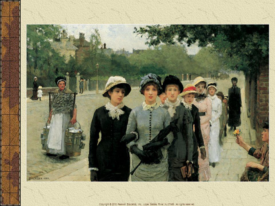 Women only gradually gained access to secondary and university education during the second half of the nineteenth century and the early twentieth century. Young women on their way to school, the subject of this 1880 English painting, would thus have been a new sight when it was painted.