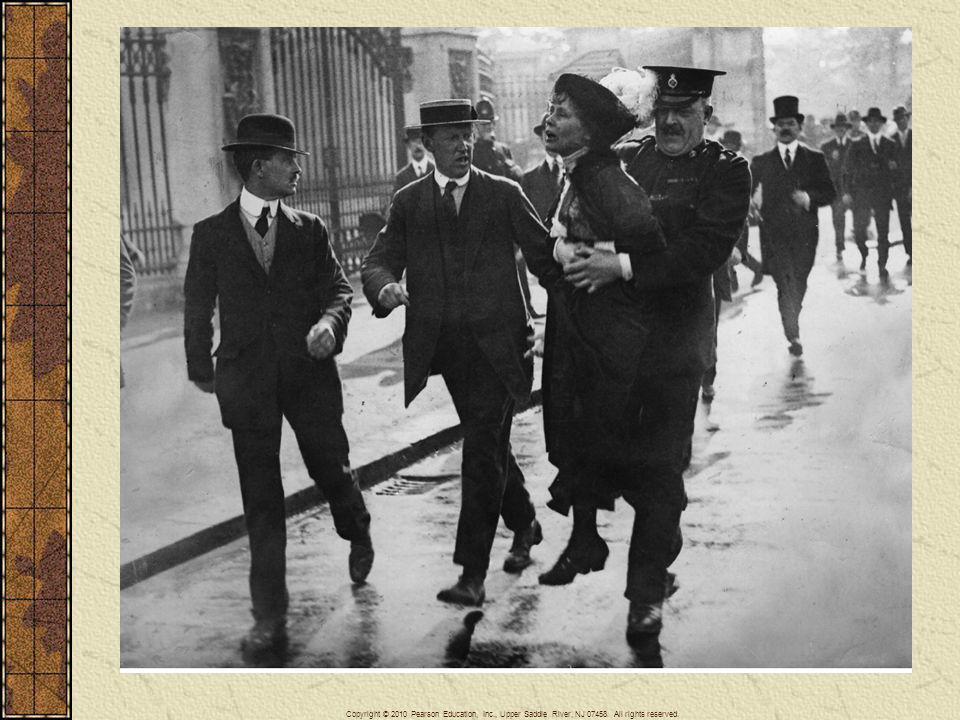 Emmeline Pankhurst (1857–1928) was frequently arrested for forcibly advocating votes for British women.