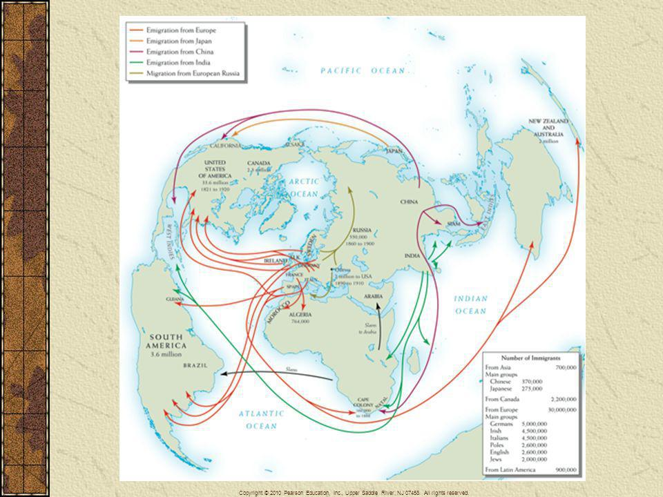 Map 23–1 PATTERNS OF GLOBAL MIGRATION, 1840–1900 Emigration was a global process by the late 19th century. But more immigrants went to the United States than to every other nation combined.