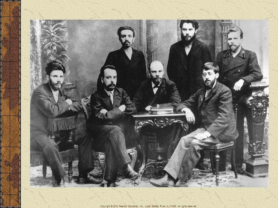 In this photograph taken in 1895, Lenin sits at the table among a group of other young Russian radicals from Saint Petersburg.