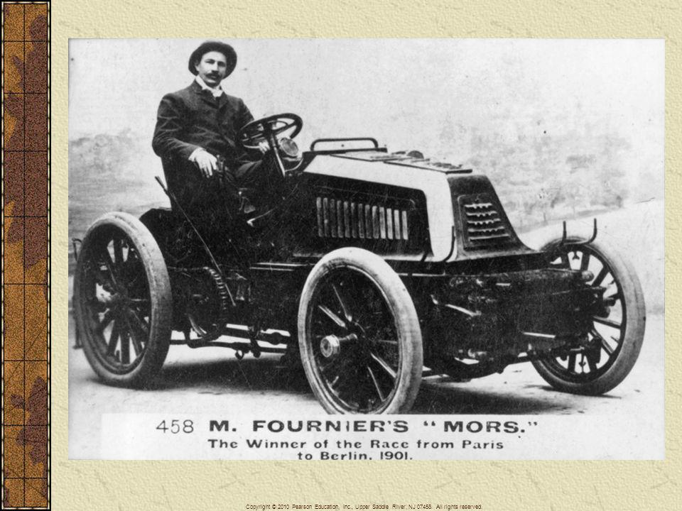 The invention and commercialization of automobiles soon led to auto races in Europe and North America. Here Henri Fournier, the winner of the 1901 Paris to Berlin Motor Car Race, sits in his winning racing car manufactured by the Paris-based auto firm of Emile and Louis Mors.