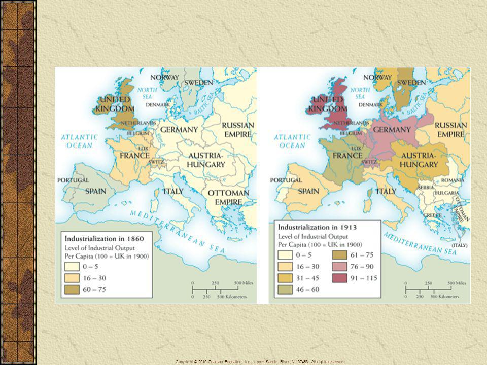 Map 23–2 EUROPEAN INDUSTRIALIZATION, 1860–1913 In 1860 Britain was far more industrialized than other European countries. But in the following half century, industrial output rose significantly, if unevenly, across much of Western Europe, especially in the new German Empire. The Balkan states and the Ottoman Empire, however, remained economically backward.