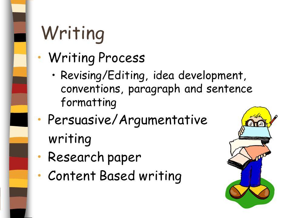 Writing Writing Process Persuasive/Argumentative writing