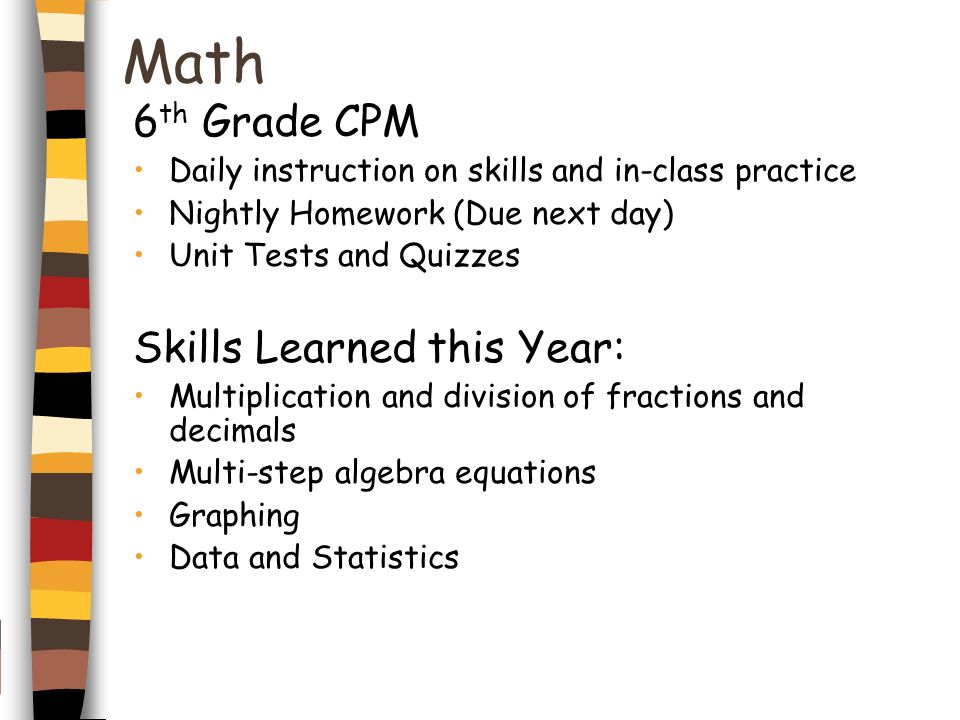 Math 6th Grade CPM Skills Learned this Year: