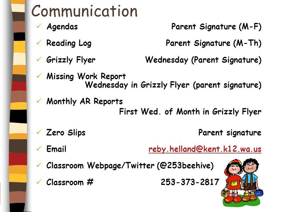 Communication Agendas Parent Signature (M-F)