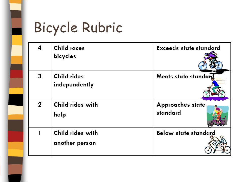 Bicycle Rubric 4 Child races bicycles Exceeds state standard 3