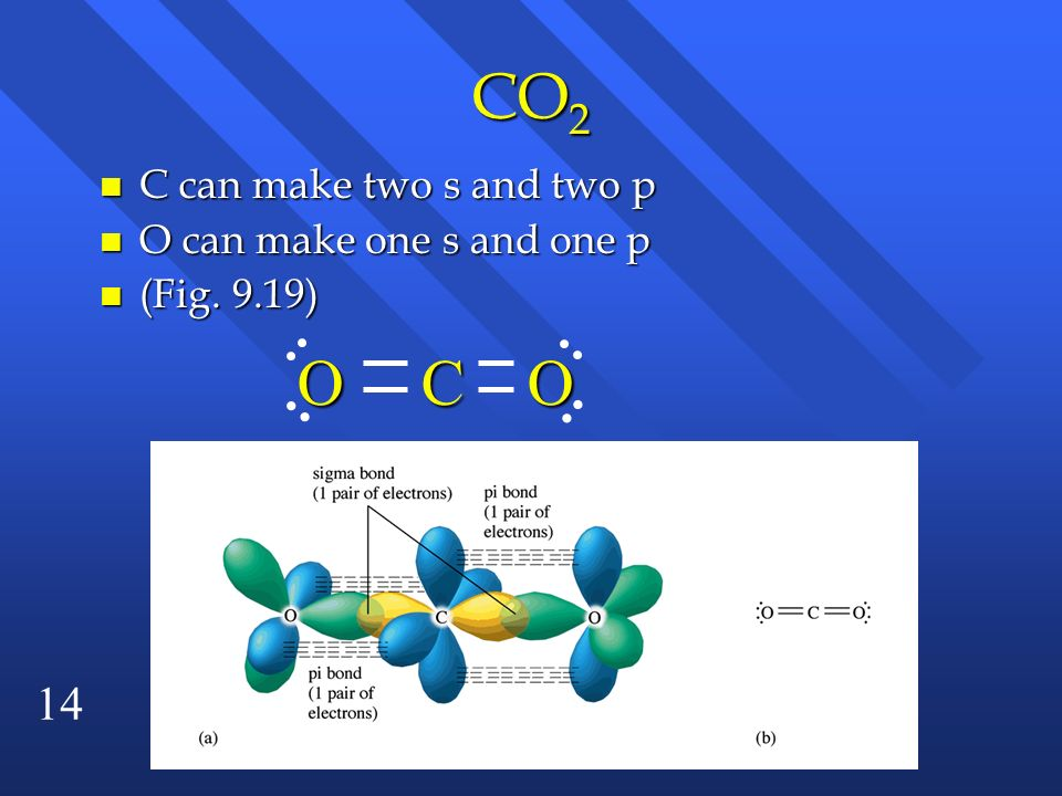 CO2 O C O C can make two s and two p O can make one s and one p
