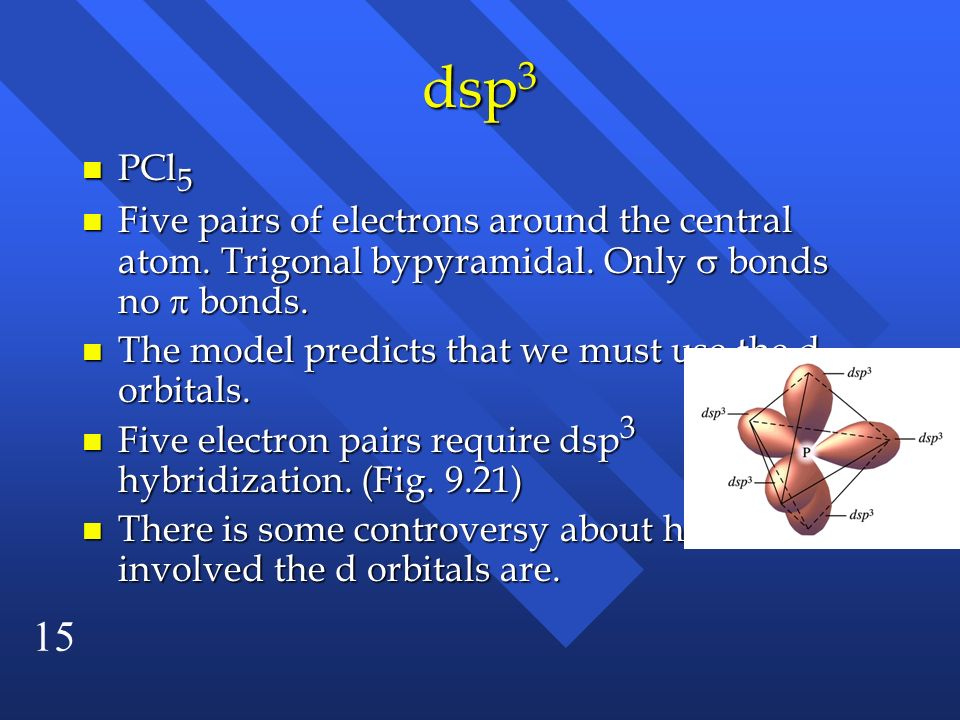 dsp3 PCl5. Five pairs of electrons around the central atom. Trigonal bypyramidal. Only  bonds no  bonds.