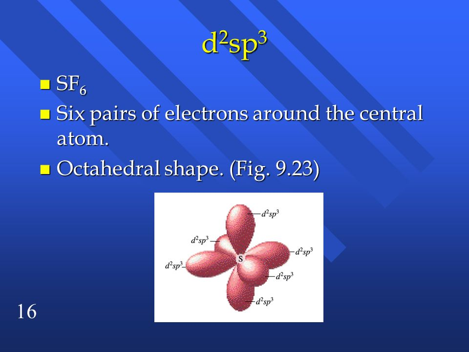 d2sp3 SF6 Six pairs of electrons around the central atom.