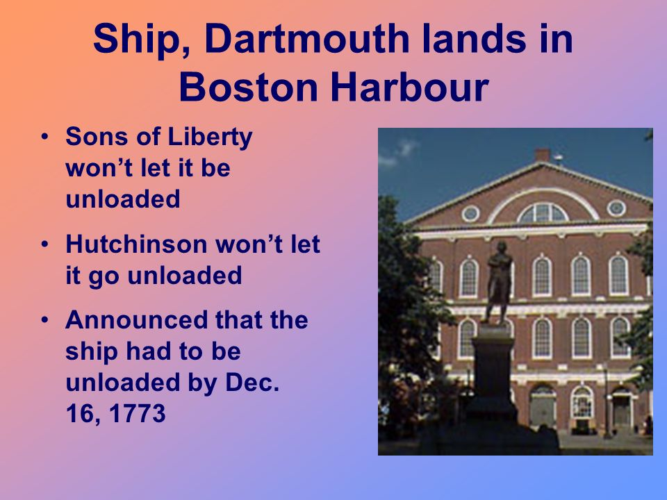 Ship, Dartmouth lands in Boston Harbour