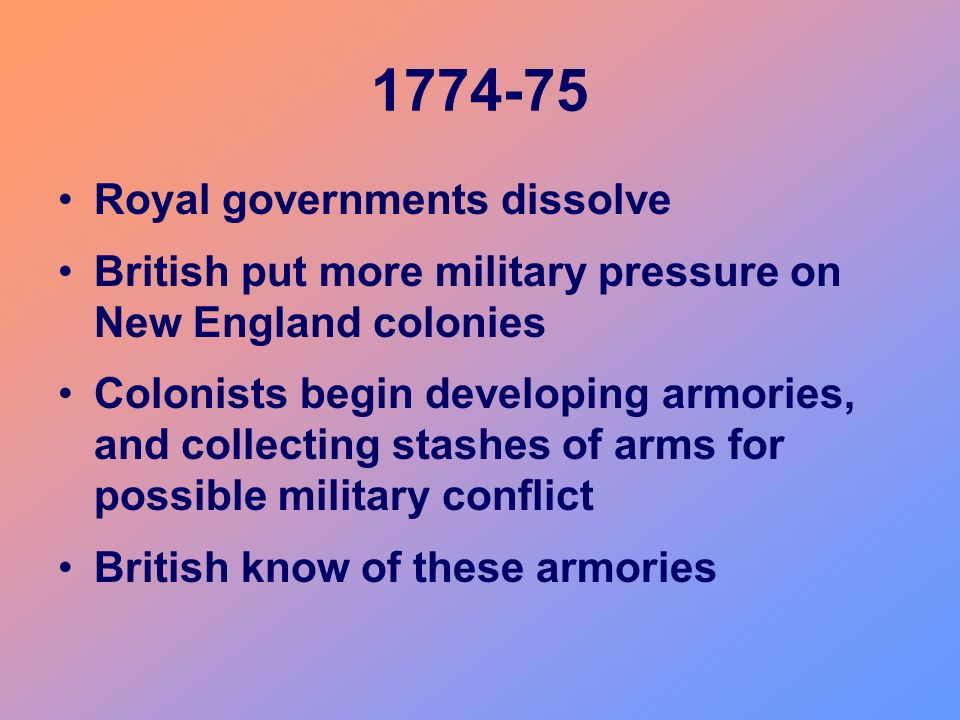 1774-75 Royal governments dissolve