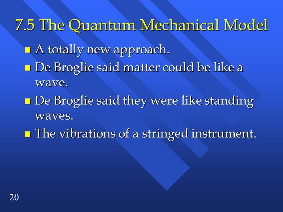 7.5 The Quantum Mechanical Model