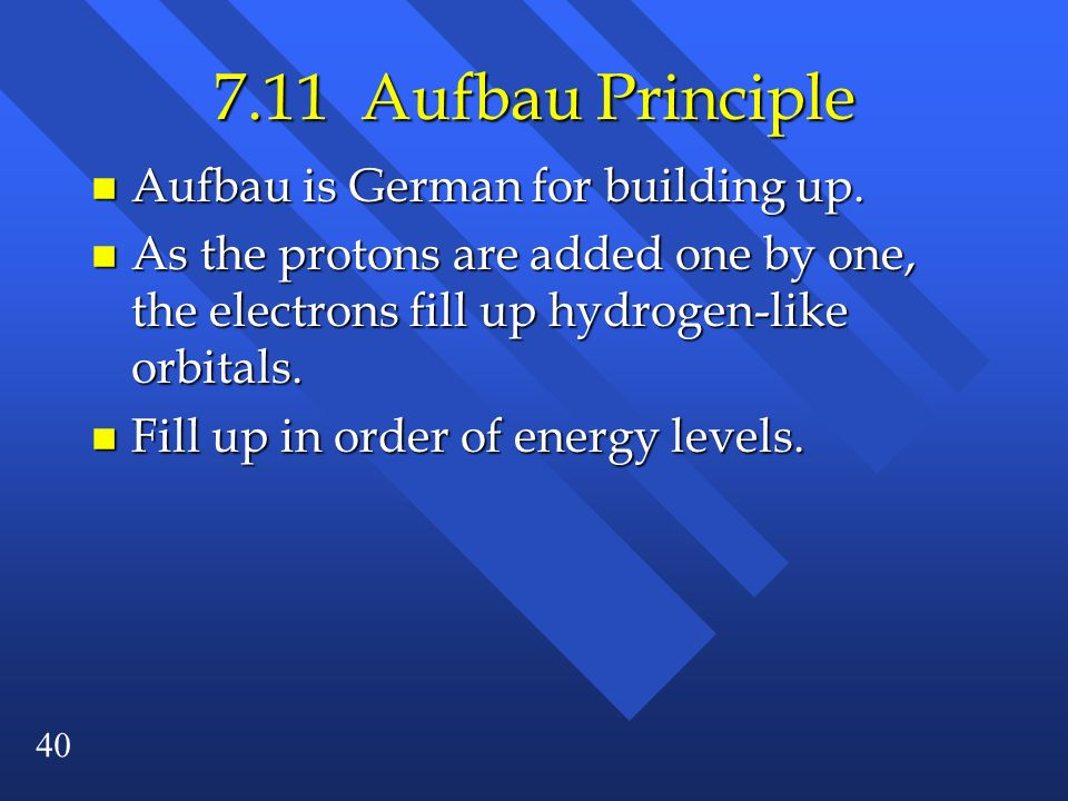 7.11 Aufbau Principle Aufbau is German for building up.