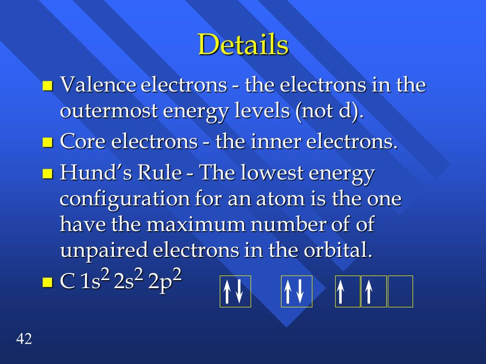 Details Valence electrons - the electrons in the outermost energy levels (not d). Core electrons - the inner electrons.
