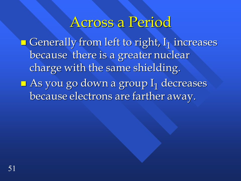 Across a Period Generally from left to right, I1 increases because there is a greater nuclear charge with the same shielding.