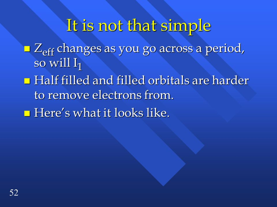 It is not that simple Zeff changes as you go across a period, so will I1. Half filled and filled orbitals are harder to remove electrons from.