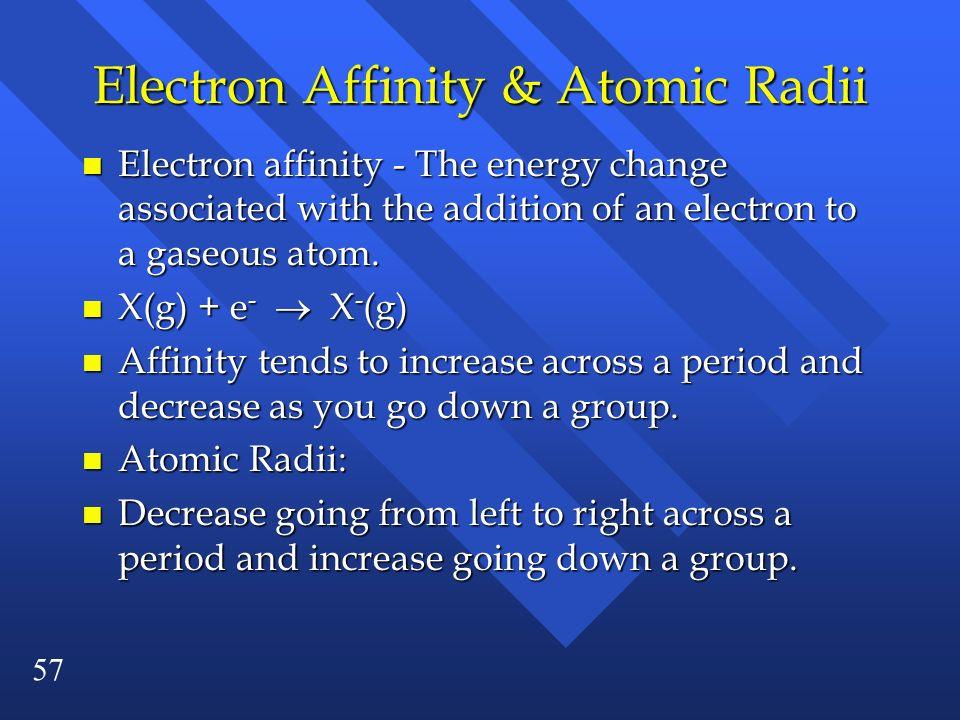 Electron Affinity & Atomic Radii