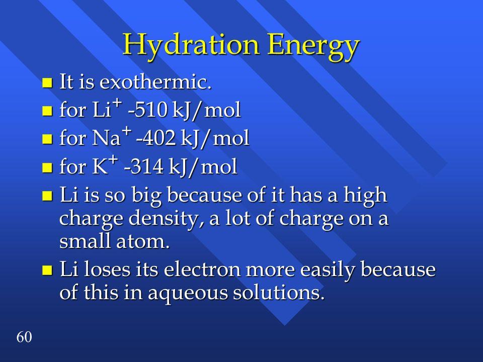Hydration Energy It is exothermic. for Li+ -510 kJ/mol