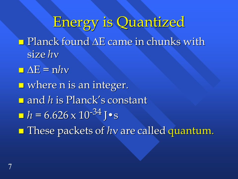 Energy is Quantized Planck found E came in chunks with size h