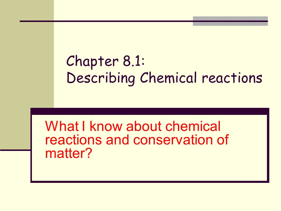 Chapter 8.1: Describing Chemical reactions