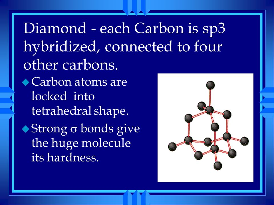 Diamond - each Carbon is sp3 hybridized, connected to four other carbons.