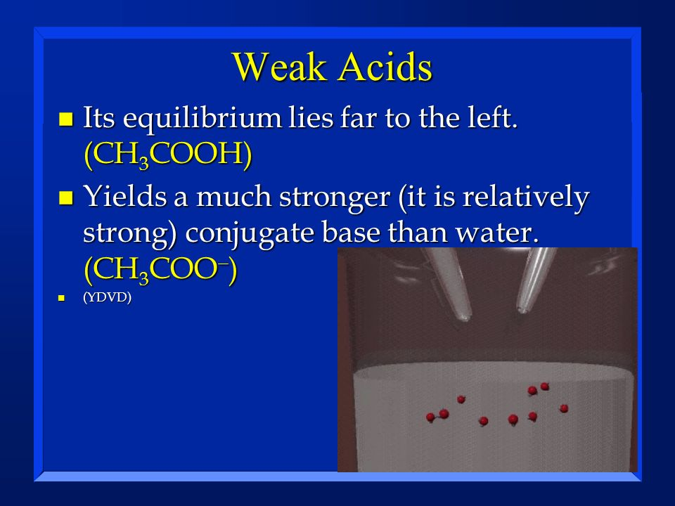 Weak Acids Its equilibrium lies far to the left. (CH3COOH)