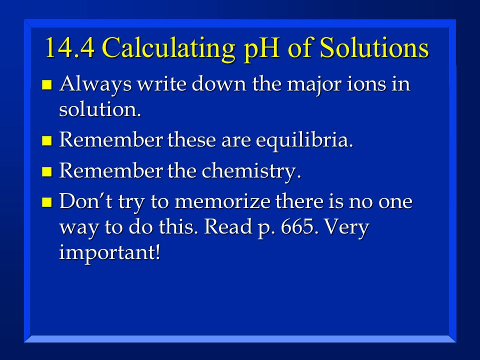 14.4 Calculating pH of Solutions