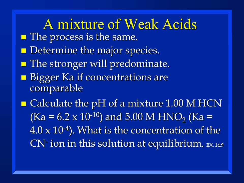 A mixture of Weak Acids The process is the same.