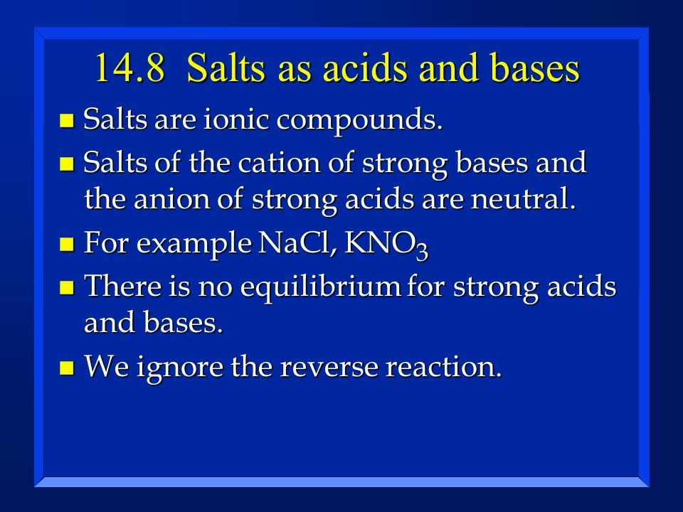 14.8 Salts as acids and bases